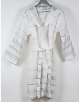 Bademantel White - Grey